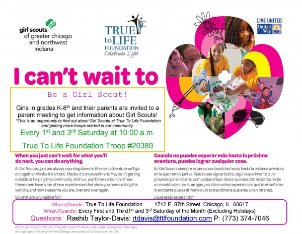 TTLF Girl Scout Recruitment Flyer_K-2 True to Life August 2015